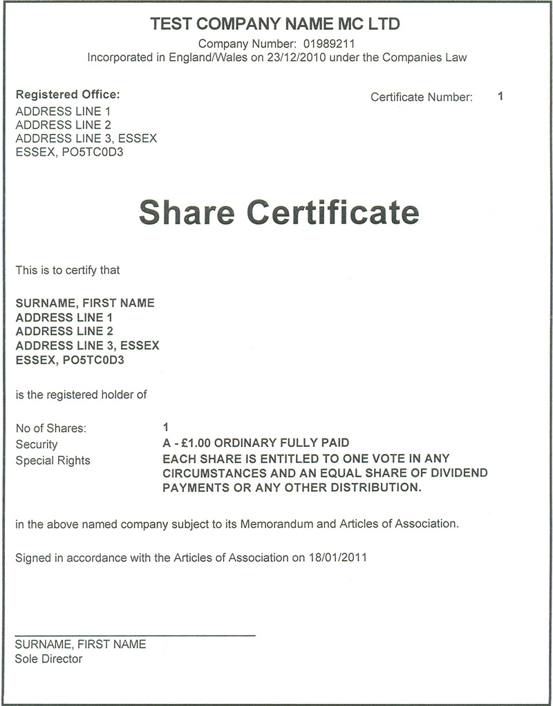 Share Certificate Example Uk Image Collections Certificate Share  Certificate Share Certificate Example Uk  Example Of Share Certificate