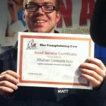 First to receive The Complaining Cow Good Service Certificate