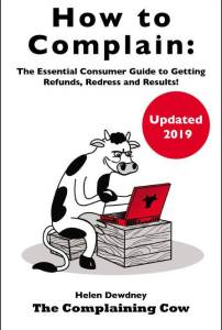 Logo cartoon cow at a laptop of book cover. How to Complain: The Essential Consumer Guide to Getting Refunds, Redress and Results!