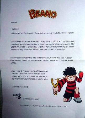 Letter from The Beano