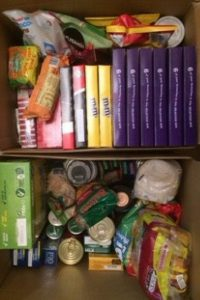 2 boxes full of stuff for foodbank