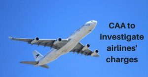Aeroplane in blue sky text - CAA to investigate airlines' charges