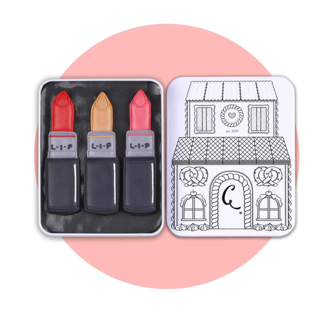 Lipstick cookies with pink background