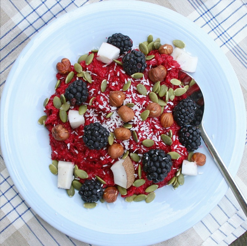 Beet oatmeal for a happy heart