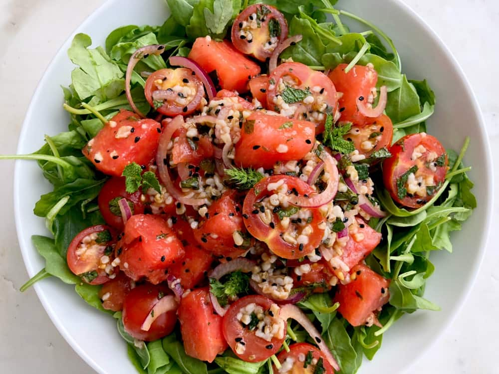 Watermelon tomato salad with oatmeal and kalonji seeds - heart healthy salad recipe