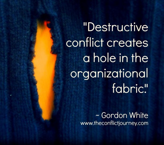 "Peaceweaving in organizations. Image with quote: ""Destructive conflict creates a hole in the organizational fabric"""