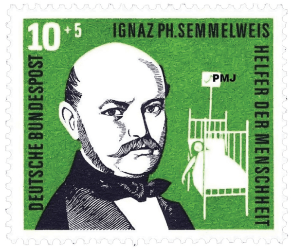 Semmelweis and his discovery celebrated on a German stamp