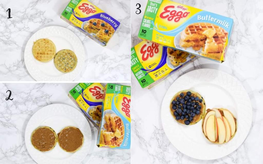 eggo waffle with almond butter and seasonal fruit