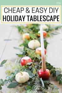 DIY rustic table centerpiece, holiday tablescapes, holiday table settings, holiday table decor, #tablescape