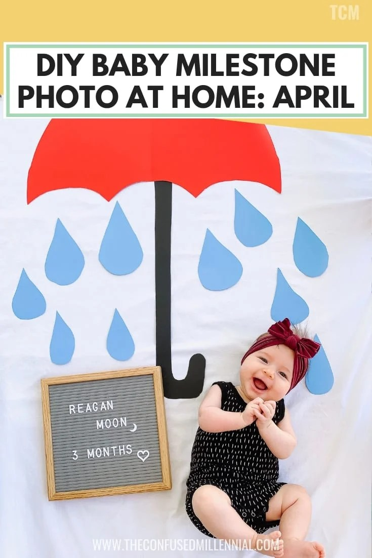 DIY BABY MILESTONE PHOTO AT HOME_ APRIL, baby monthly pictures idea with letterboard and blanket, baby milestones, creative newborn baby photo ideas at home for spring, #babyphoto, #babyphotos, #babymilestone, #babymilestones, #athomebabyphoto, #diybabyphoto, letter board april photo idea for baby milestones in april or spring month