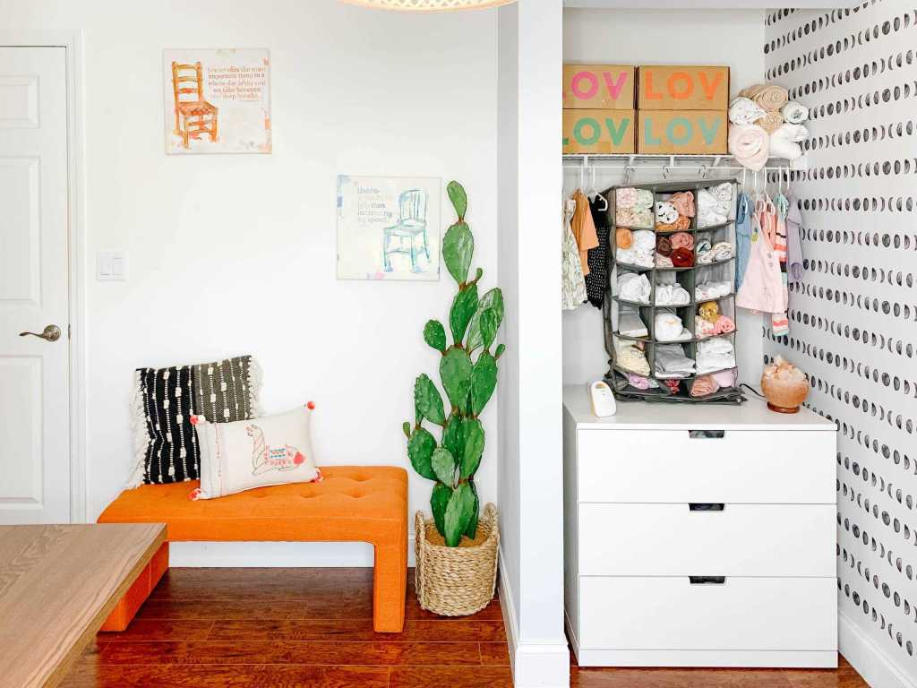 nursery ideas boy or girl, gender neutral nursery organization, moon themes with a boho minimalist feel, nursery elephant decor, layout for a small and simple nursery for baby, DIY decor, how to organize a very tiny closet, nursery furniture, rug, dresser, wallpaper, and book shelf, grey minimalist ikea nursery, gray neutral bohemian baby room hacks