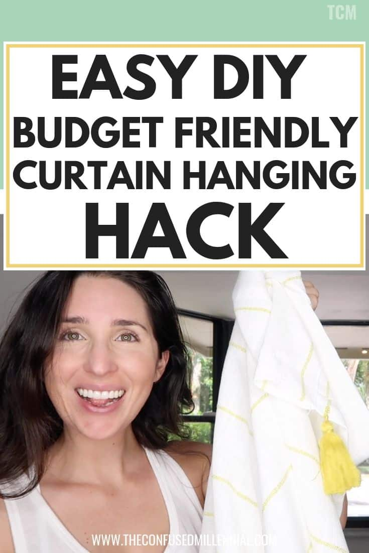 Easy DIY Budget Friendly Bay Window Curtain Hanging Hack, curtain ideas for living room or bedroom, boho or farmhouse style curtain for bay window, layered curtain, how to make statement window cheap, living room statement window decorate for any holiday, holiday decor ideas for around living room window, #homedecor, #easydiy, #curtainideas, #baywindow