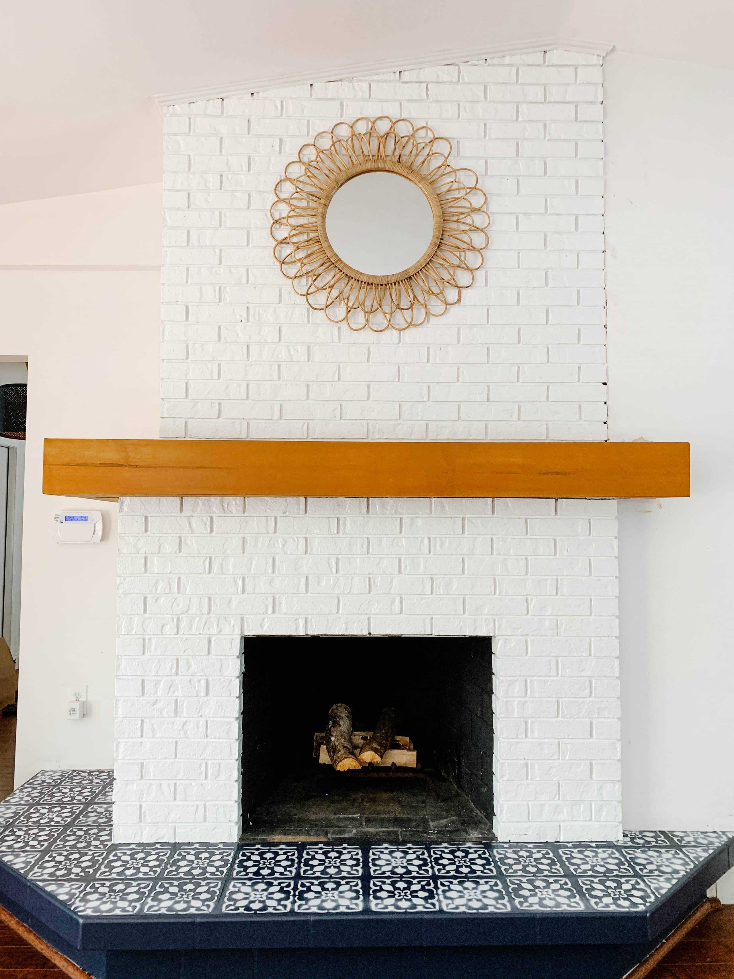 to paint fireplace tile with a stencil