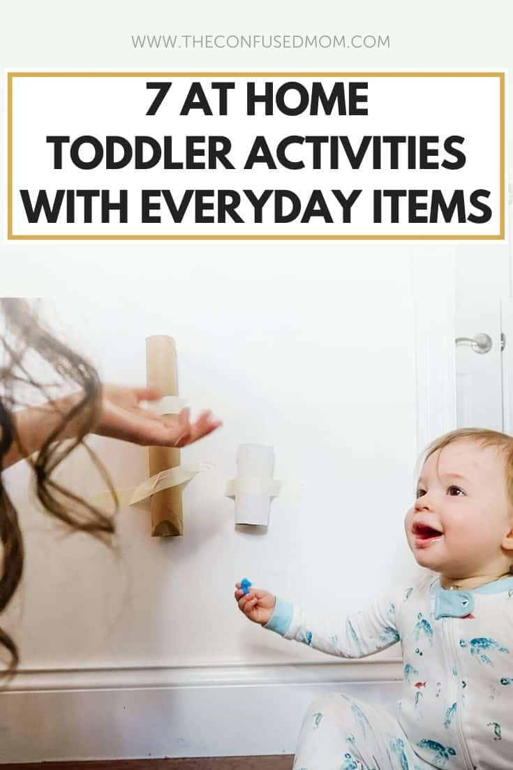 7 At Home Toddler Activities With Household Items You Already Own, indoor toddler activities under 2, 2 year old indoor diy activities for a rainy day at home, keep toddler busy at 18 months, mess free things to do with young children or older babies using items at home or from dollar tree or dollar store, easy diy activity for 1 year old, #toddleractivities, #toddleractivity