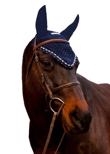 Equine Couture Fly Bonnet with Crystals Navy