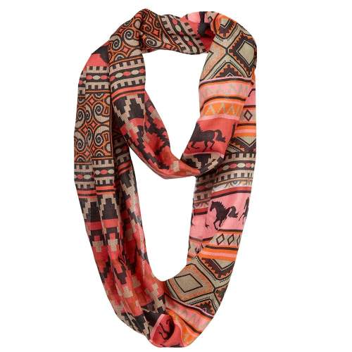 Galloping Horse Infinity Scarf Southwestern Print