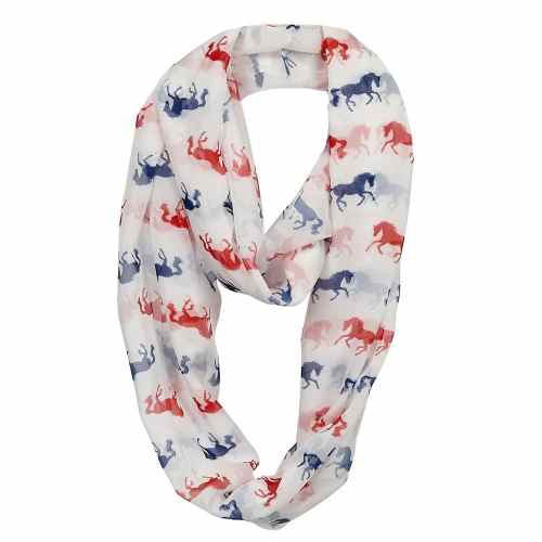 Galloping Horse Infinity Scarf White with Red and Blue Horses