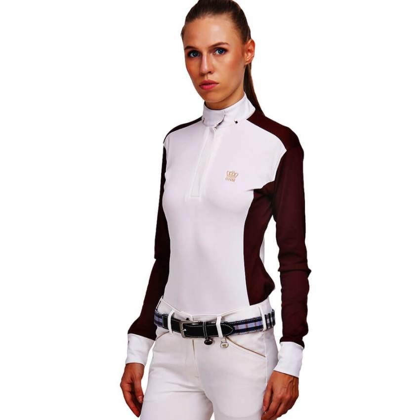 George Morris Champion Long Sleeve Show Shirt WHITE/WINE