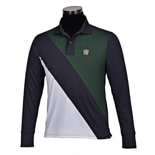 George Morris Pro Sport Long Sleeve Polo Shirt Men's DGR/GRP/WH