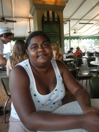 lauren happy with cafe du monde New Orleans