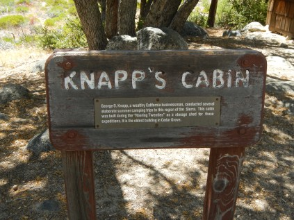 Kings Canyon National Park Knapp's Cabin Sign