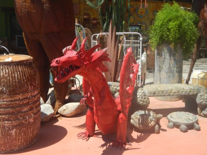 Red Metal Dragon Sculpture