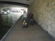 Walking under a bridge Downton San Antonio