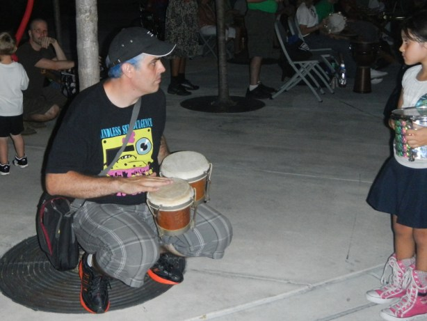 Playing the drums in hollywood circle