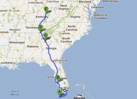 Our Route from Key West to Richmond