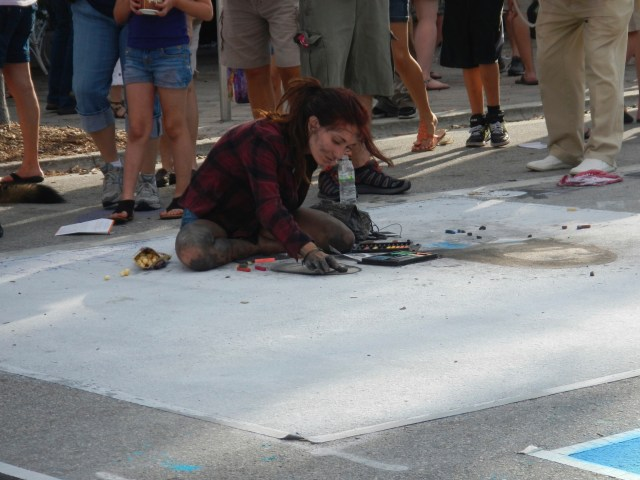 Girl Working on Street Painting
