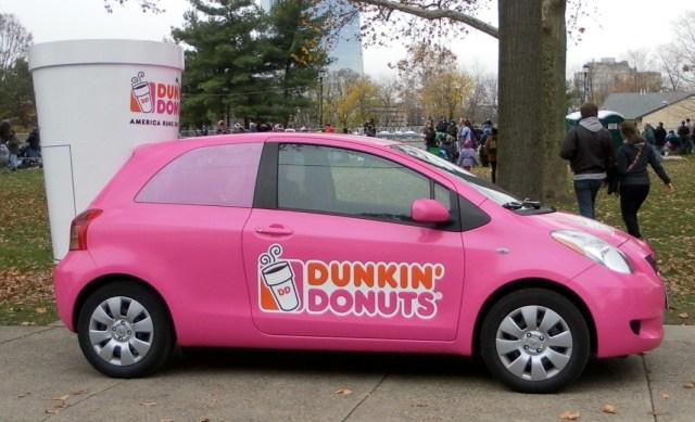 Pink Dunkin Donuts Car