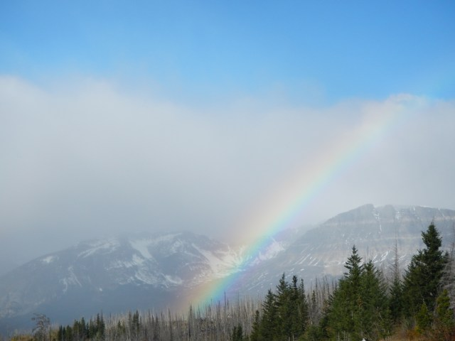 Rainbow against the mountains.