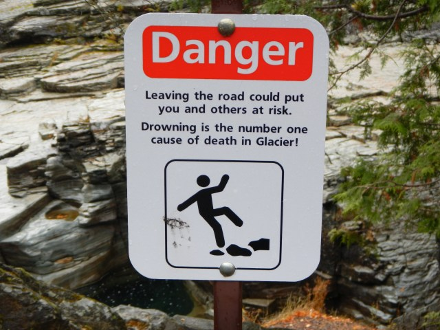 Danger Sign at Glacier