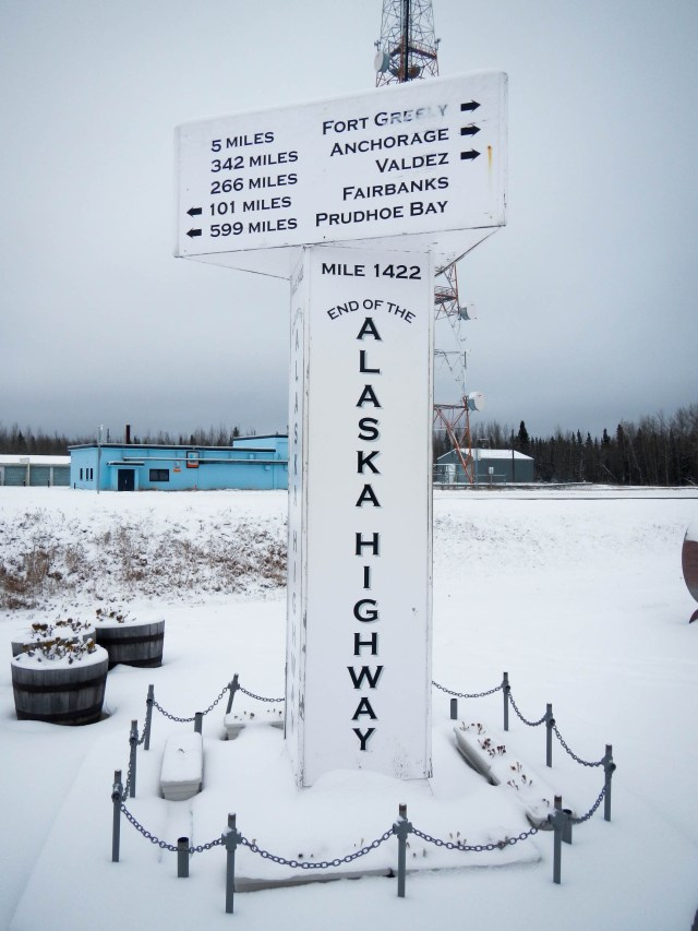 End of the Alaska Canada Highway Sign