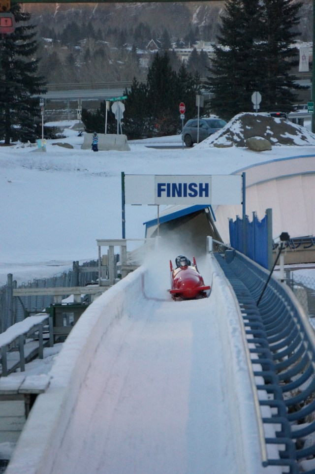 Bobsled in motion