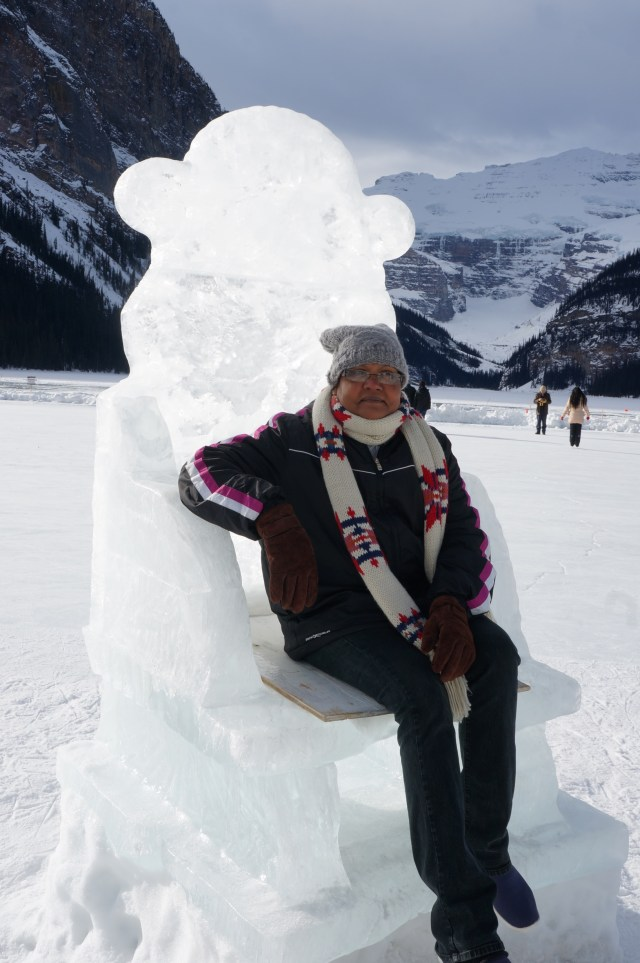 Sitting pretty in the ice castle in Lake Louise