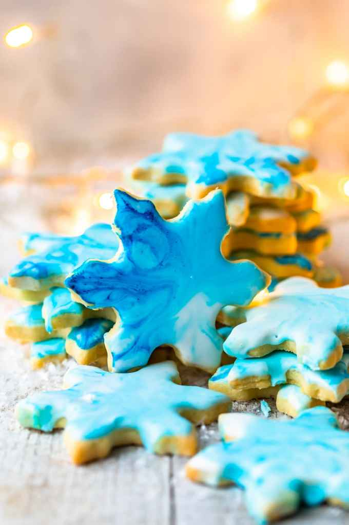 christmas butter cookies in the shape of snowflakes