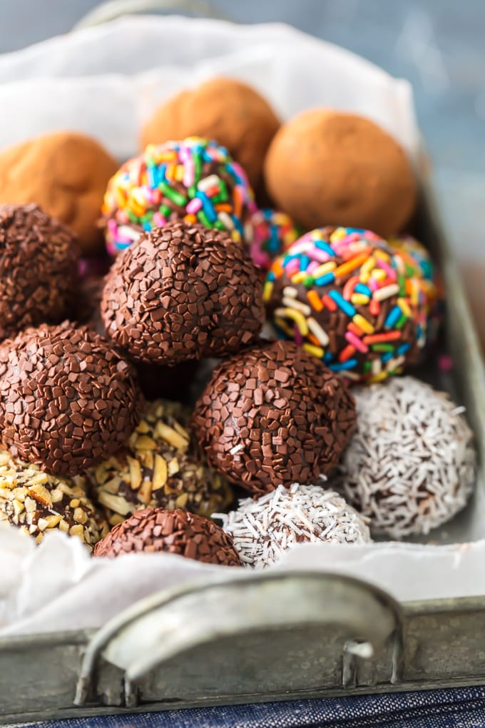 chocolate truffles with different toppings and sprinkles
