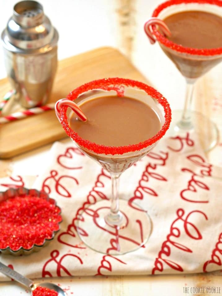 """Peppermint """"Hot Chocolate"""" Martini, easy delicious and fun! Perfect for the holidays! 