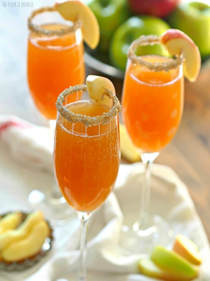 three glasses of mimosas