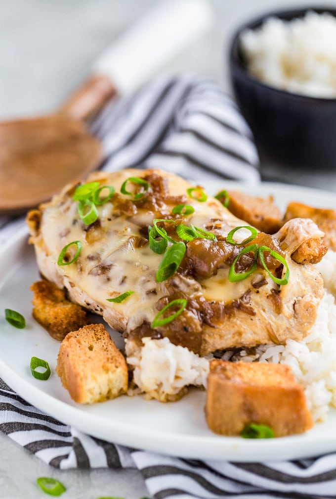 French Onion Chicken on a plate with rice