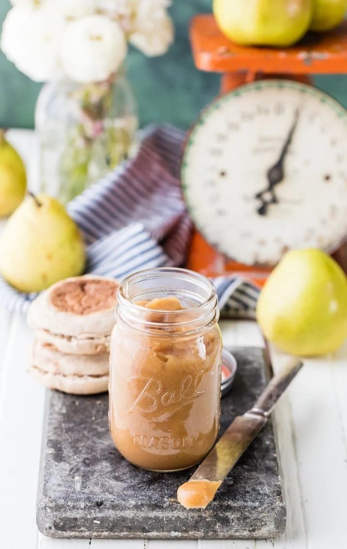 One Hour Super Easy Pear Butter, made on the stovetop in under an hour! Pears are all the rage this season, and this Pear Butter is perfection!