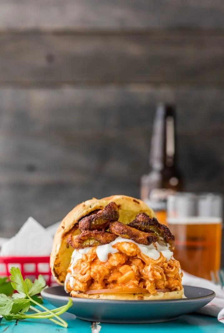 Crockpot Buffalo Chicken Sandwich with Ranch Fried Pickles