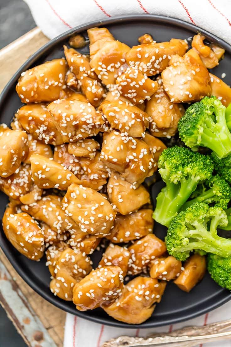 teriyaki chicken and broccoli and a plate