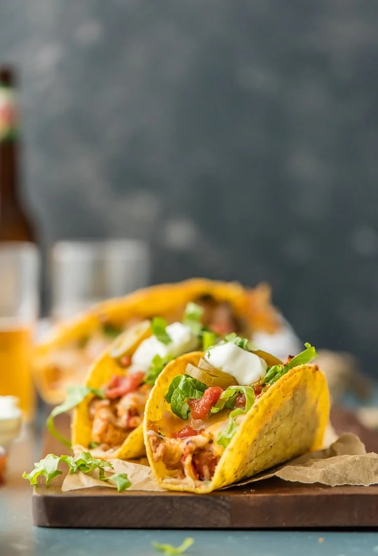 Chicken Tacos with sour cream and jalapenos