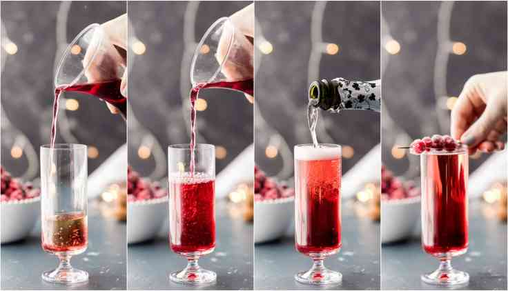 pictures of pouring cranberry juice and champagne with sugared cranberries