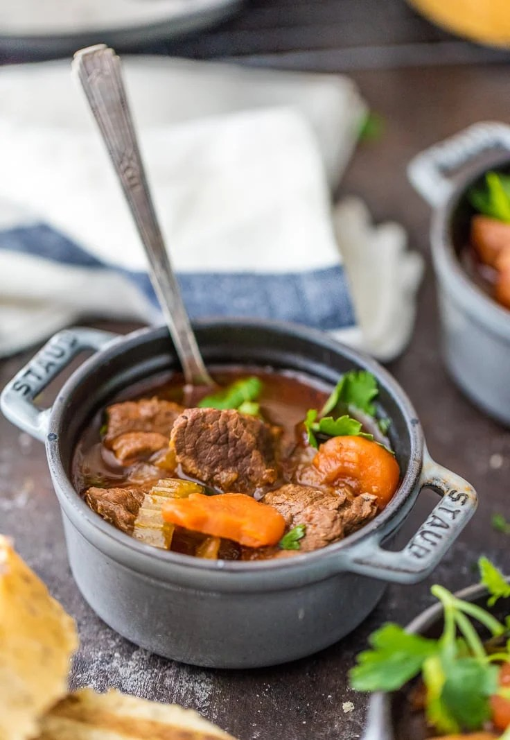 guinness stew in a cast iron bowl