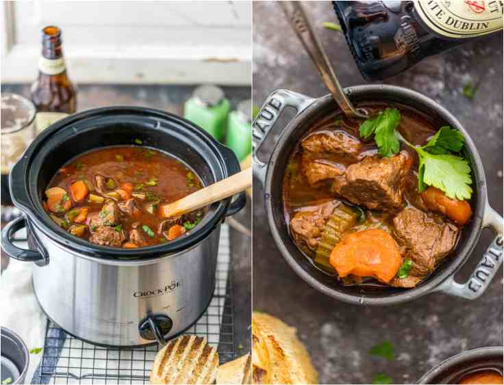 photo collage: left, beef stew in a crockpot; right, beef stew in a bowl