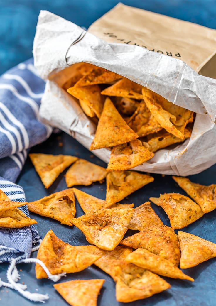 homemade cool ranch doritos pouring out of a paper bag