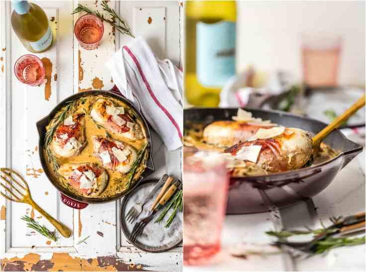 chicken skillet meal in a tablescape